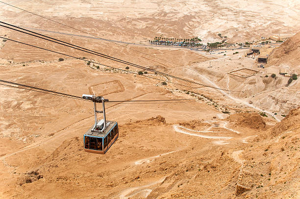Cable car at Masada, with in the background the remains of the Roman siege.